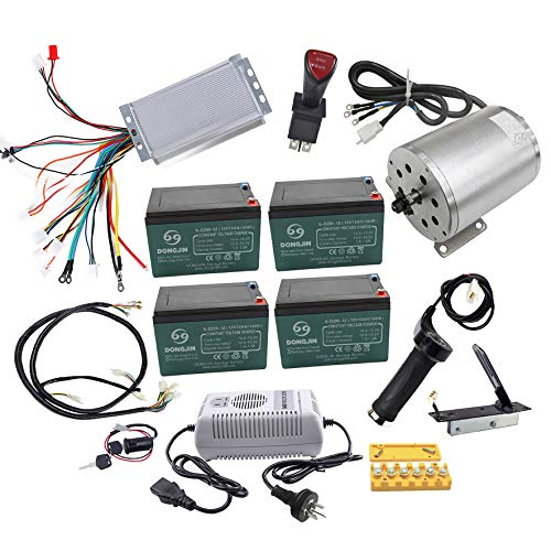 TDPRO Full Set of 48V 1800W Brushless Electric Motor Controller Throttle Grip Pedal Wiring Harness Ignition Key 4 x12V Battery and Charger for Go Kart Scooter E Bike Motorized Bicycle ATV Mini Bikes