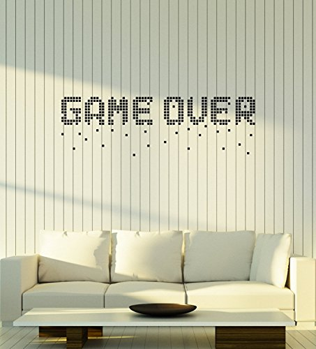 Wall Pixel (WallStickers4ever Vinyl Wall Decal Game Over Pixel Art Video Games Gamer Room Decoration Stickers Mural Large Decor (ig5549))