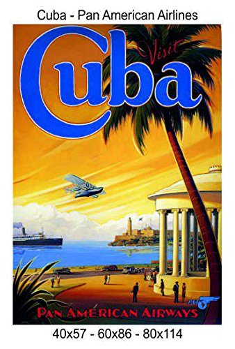 Stampa in Tela Canvas 100/% QUALIT/à ITALIA Cuba 40x57 Pan American Airlines effetto Dipinto Idea Regalo Casa quadro cucina stanza da letto soggiorno