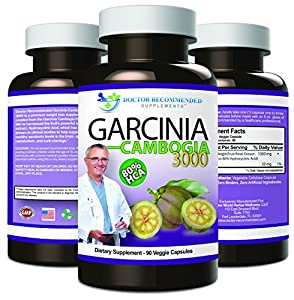 Garcinia Cambogia Capsules-Pure Extract-Natural Dietary Supplement for Weight Loss-1000mg/serving 90 Ct Veggie Diet Pills-CERTIFIED AS 80% HCA (OTHERS AREN'T)-Appetite Suppressant-MADE IN THE USA!