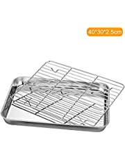 Stainless Steel Flat Bottom Baking Tray with Mesh Set Square Barbecue Plate with Cooling Rack Drip Pan Baking Plate Barbecue Tray Bakeware (40 * 30 * 2.5cm)
