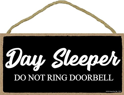 Day Sleeper Do Not Ring Doorbell - 5 x 10 inch Hanging Door Signs, Wall Art, Decorative Wood Sign Home Decor
