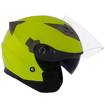 Cruizer Casco Moto Jet homologado, doble visera Scooter alta visibilidad, color amarillo, talla