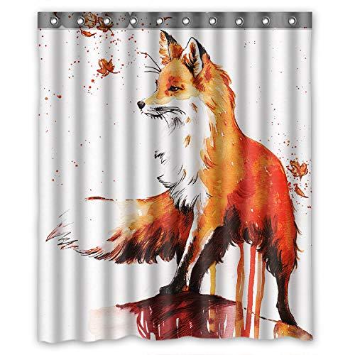 ZHANZZK Fox Autumn Maple Waterproof Bathroom Shower Curtain 60x72 Inches (Lovely Lattice Shower Curtain)