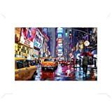 New York Poster Art Print and Frame (MDF) Gloss White - Times Square, Richard Macneil (32 x 24 inches)