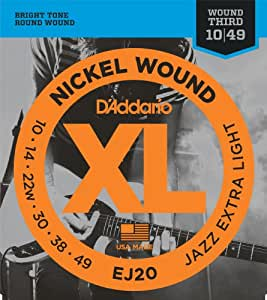 d 39 addario ej20 nickel wound electric guitar strings jazz extra light 10 49. Black Bedroom Furniture Sets. Home Design Ideas