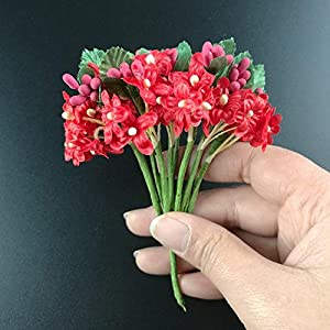 12PCS Mini Fabric Cherry Plum Blossom Artificial Flower Silk Baby Breath Floral Bouquet Table Arrangements Wedding Decorations,4 3