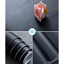 """17.71"""" X 78.7"""" Black Wood Contact Paper Decorative Self-Adhesive Film for Furniture Real Wood Tactile Sensation Surfaces Easy to Clean"""