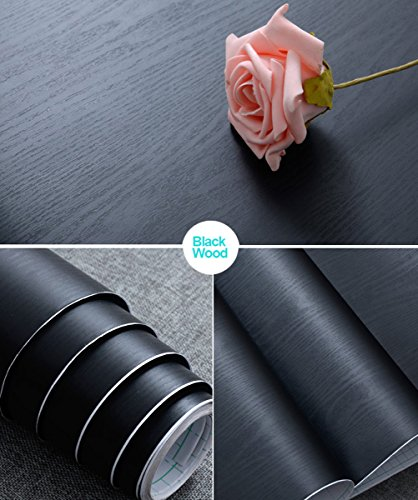 Abyssaly 17.71'' X 78.7'' Black Wood Contact Paper Decorative Self-Adhesive Film for Furniture Real Wood Tactile Sensation Surfaces Easy to Clean by Abyssaly