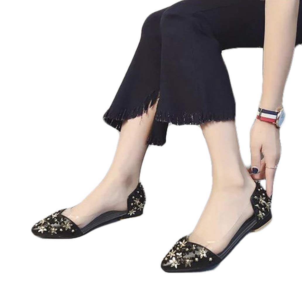 York Zhu Women Flats Casual Shoes Pointed Toe Shallow Rivet Flower Cool Loafers Shoes