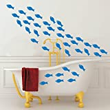 48pcs/Set Fish School Wall Sticker Art Vinyl Little Fish Wall Decor Art Wall Decal for Bathroom Kids Bedroom Shower Room Interior DIY Decoration (Azure Blue)