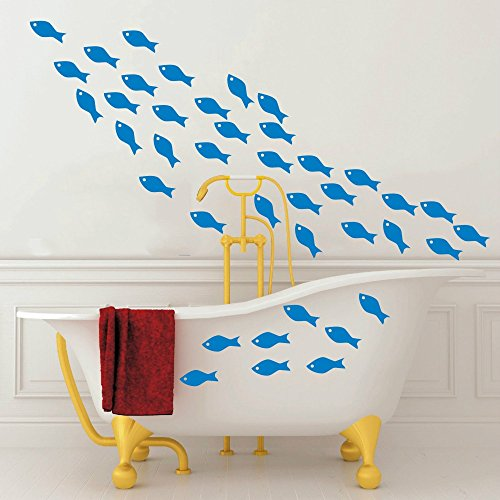 48pcs/Set Fish School Wall Sticker Art Vinyl Little Fish Wall Decor Art Wall Decal for Bathroom Kids Bedroom Shower Room Interior DIY Decoration (Azure Blue) by YOYOYU ART HOME DECOR (Image #3)
