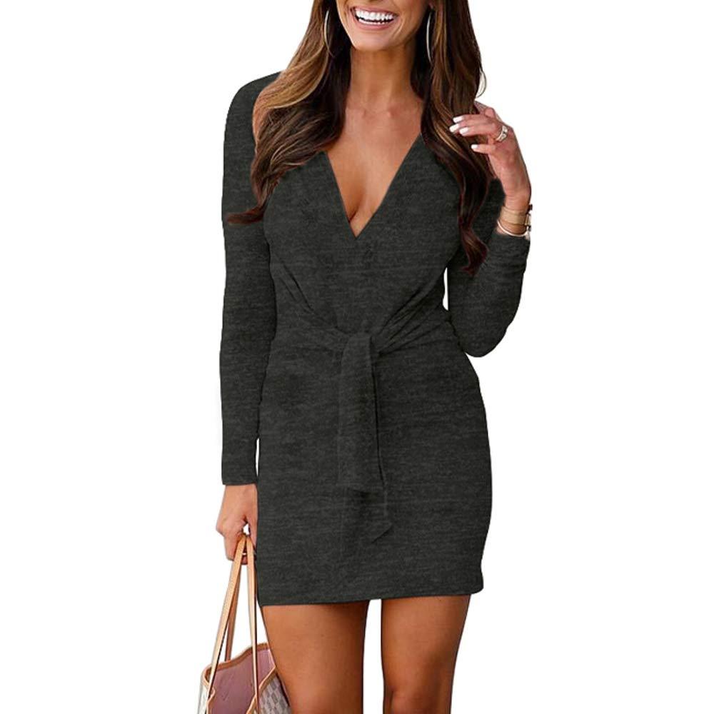 VANCOL Women's Deep V Neck Long Sleeve Tie Front Knit Mini Bodycon Sweater Dress Plain Party Club Dress(Black, S)