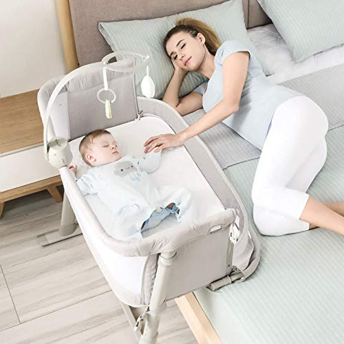 Bedside Sleeper for Baby, Kidsclub, Baby Bassinet for New Born, Standalone Bassinet & Side-Sleeper for Infants, Baby Bed, 2 Replaceable Mattress, 9 Height Adjustable, Stable, for Bed & Sofa(Grey)