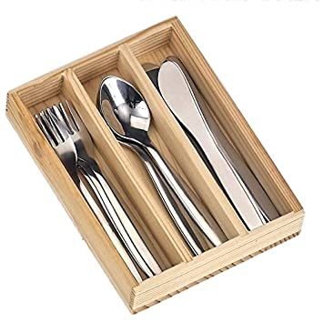 Cubertería de acero inoxidable, 12 piezas Caja de madera ...