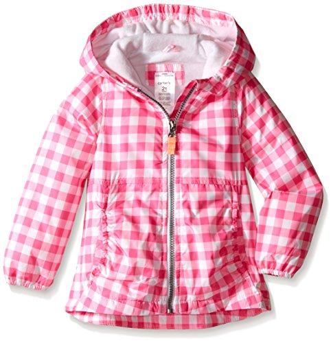 Carter's Little Girls' Toddler Gingham Fleece Lined Midweight Jacket, Pink/Pink, 2T