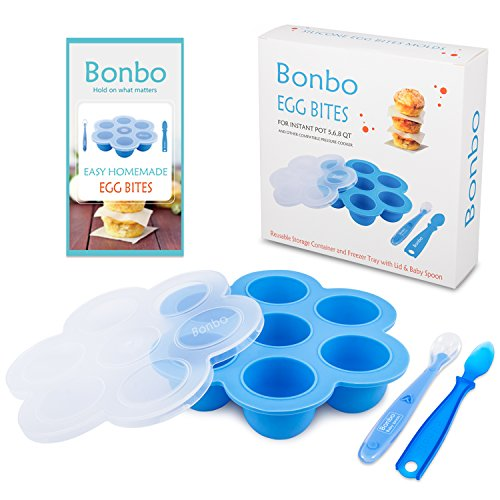 Bonbo Silicone Egg Bites Molds for Instant Pot Accessories - Fits Instant Pot 5,6,8 qt Pressure Cooker, Reusable Storage Container and Freezer Tray with Lid and 2 Baby Spoons