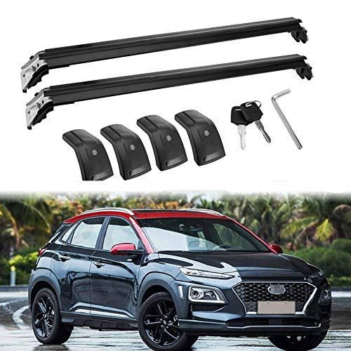 MotorFansClub Crossbars Fit for Hyundai KONA 2018 2019 Lockable Baggage Luggage Racks Roof Racks Rail Cross Bar (2 PCS) ()