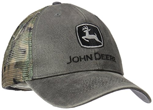 John Deere Logo Waxed Cotton Mesh Back Baseball Hat - One-Size - Men's - Charcoal,