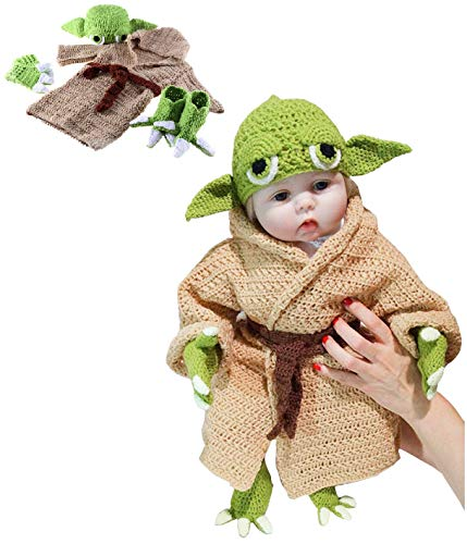 Baby Infant Costume Hand-Knit Newborn Baby Costume Set for 0-6 Month Newborn Outfit Photography Prop Green