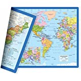 Classic United States USA and World Desk Map, 2-Sided Print, 2-Sided Sealed Lamination, Small Poster Size 11.5 x 17.5 inches (1 Desk Map)