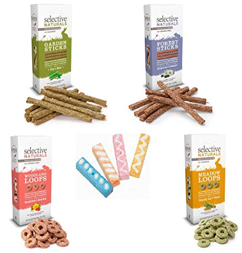 Small Animal 5 Pack Variety Bundle, Includes 4 Selective Naturals Treats, (1) Forest Sticks, (1) Garden Sticks, (1) Woodland Loops, (1) Meadow Loops, Plus (1) Mineral Candy Chews (4 Chews per Package)