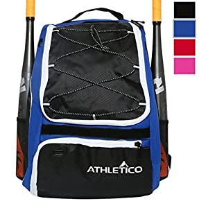 Athletico Baseball Bat Bag - Backpack for Baseball, T-Ball & Softball Equipment & Gear for Kids, Youth, and Adults | Holds Bat, Helmet, Glove, & Shoes | Separate Shoe Compartment, & Fence Hook (Blue)