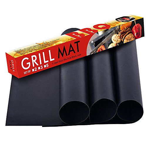 Little World Grill Mat & Oven Liner Non-Stick Bake Mat Healthy Teflon/PTFE Kitchen Home Essential Easy to Clean FDA-Approved & Non-PFOA Reusable Grill Toppers, Set of 3, 15.75 x 13 Inch