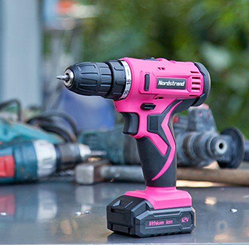 Nordstrand Pink Cordless Drill Set - Electric Screwdriver Power Driver Kit for Women - 12V Rechargeable Li-Ion Battery… 5