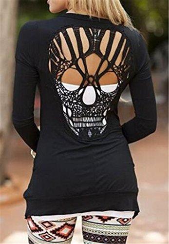 Senza Cranio Con Cappotto Sottile Manica Tops Tasche Black Autunno Lunga Giacca Cardigan Besthoo Puro Outwear Colore Giovanile Schienale Donna mNwyv80OnP