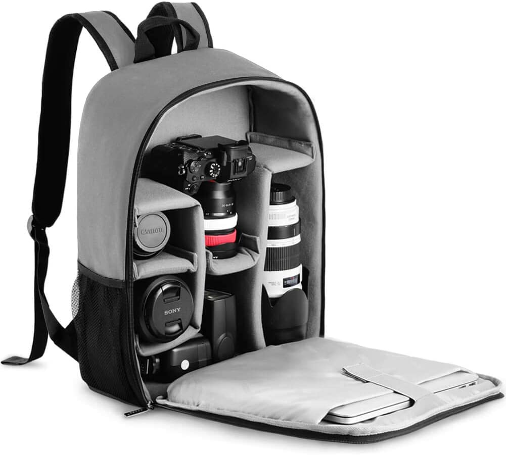 "CADeN Camera Backpack Bag with Laptop Compartment 15.6"" for DSLR/SLR Mirrorless Camera Waterproof, Camera Case Compatible for Sony Canon Nikon Camera and Lens Tripod Accessories Grey"