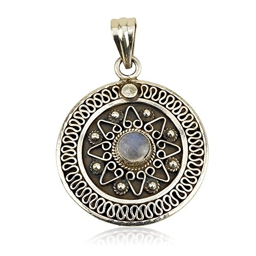 (Koral Jewelry Sterling Silver Moonstone Pendant Size 1.3