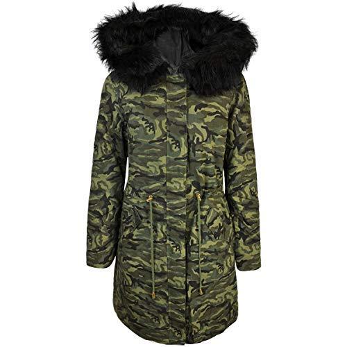 Talla Mujer Camuflaje Tachuelas Uk Piel Informal Con Sintética Punk Chaqueta Fashion Verde Thirsty Caqui Corto Motorista 4ZTqwnP5