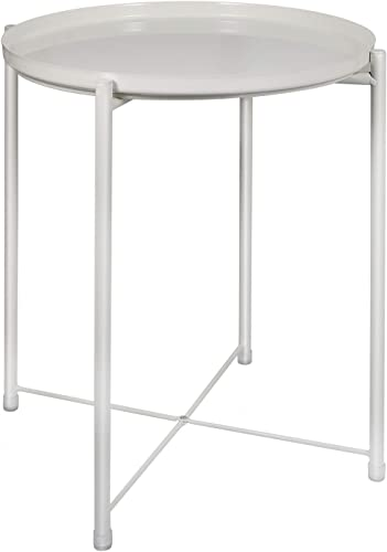 Tray Metal End Table, Small Round Side Tables,Metal Nightstand, Sofa Side Snack Table with Removable Tray for Living Room Bedroom Outdoor Indoor White