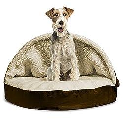 FurHaven Round Faux Sheepskin Orthopedic Snuggery Burrow Pet Bed, Espresso, 35-Inch