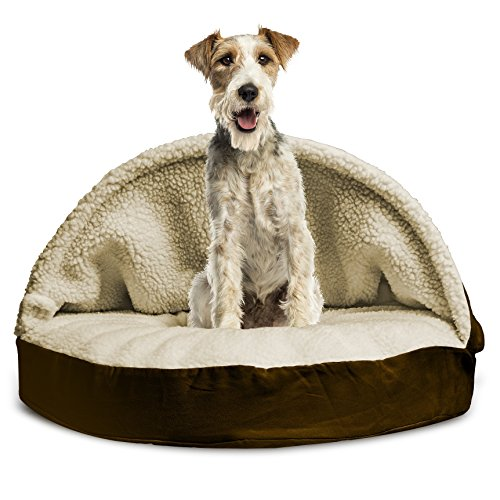 Furhaven Pet Dog Bed | Memory Foam Round Faux Sheepskin Snuggery Burrow Pet Bed for Dogs & Cats, Espresso, 35-Inch by Furhaven Pet (Image #8)