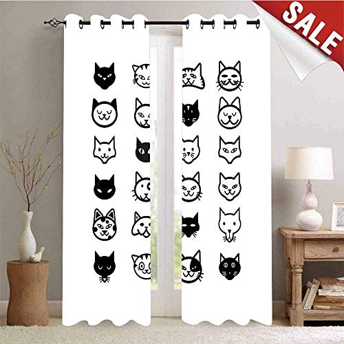 Hengshu Blackout Window Curtain Cartoon Style Collection of Cat Heads Illustration in Black and White Feline Customized Curtains W84 x L108 Inch Black White