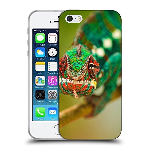 Just Phone Cases Coque de Protection TPU Silicone Case pour // V00004135 caméléon vert ramper // Apple iPhone 5 5S 5G SE