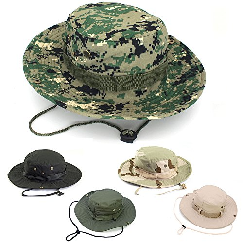 Mens Hats Sun Boonie Hat, AYAMAYA Wide Brim Quick Drying Bucket Military Hat Summer Outdoor Fishing Hat Breathable UV Protective Sun Visor Bucket Cap for Hunting Travel Hiking Beach - Woolland Digital