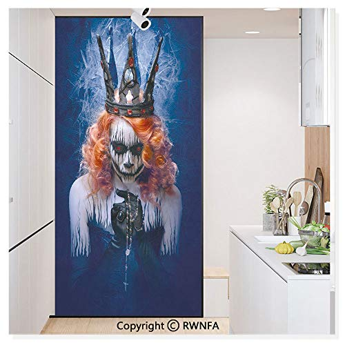 Window Door Sticker Glass Film,Queen of Death Scary Body Art Halloween Evil Face Bizarre Make Up Zombie Anti UV Heat Control Privacy Kitchen Curtains for Glass,30 x 59.8 inch,Navy Blue Orange Black -