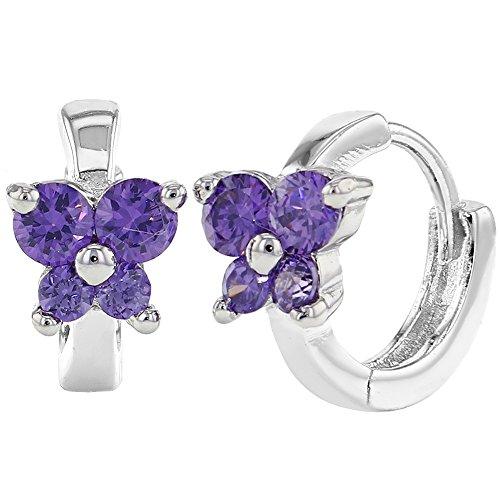 925 Sterling Silver Butterfly Purple CZ Small Hoop Huggie Earrings Girls 10mm