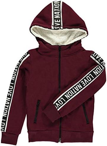 12-14 Joyce Concept Big Girls Logo Love Hoodie burgundy