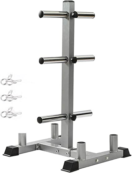 Olympic Weight Plate Rack Three Weight Plate Tree 2 inch for Bumper Plates Free Weight Stand Metal Steel Home Workout Dumbbell Rack Storage Stand