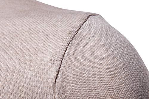 Beige Fit Homme Slim Sweater Coton Uni Elonglin Chandails Pulls Roulé Col vAxqRwzg1w