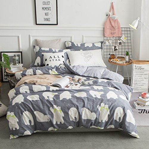 Cotton Bedding Set Twin Size Polar Bear Print Kids Duvet Cover Sets Reversible Grid Duvet Cover Sets Grey For Boys Zipper Closure With 4 Corner Ties(No Comforter) by MicBridal (Twin, Style 3) (Twin Bears Polar)