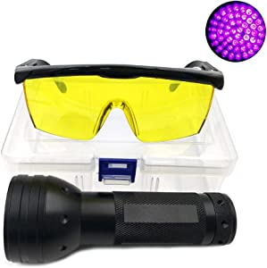 Nikauto UV Flashlight Black Light 51 LED Flashlight and UV Protective Glasses Goggles Detector Tool for Detecting pet Cat Dog Urine Repairing car Checking Money