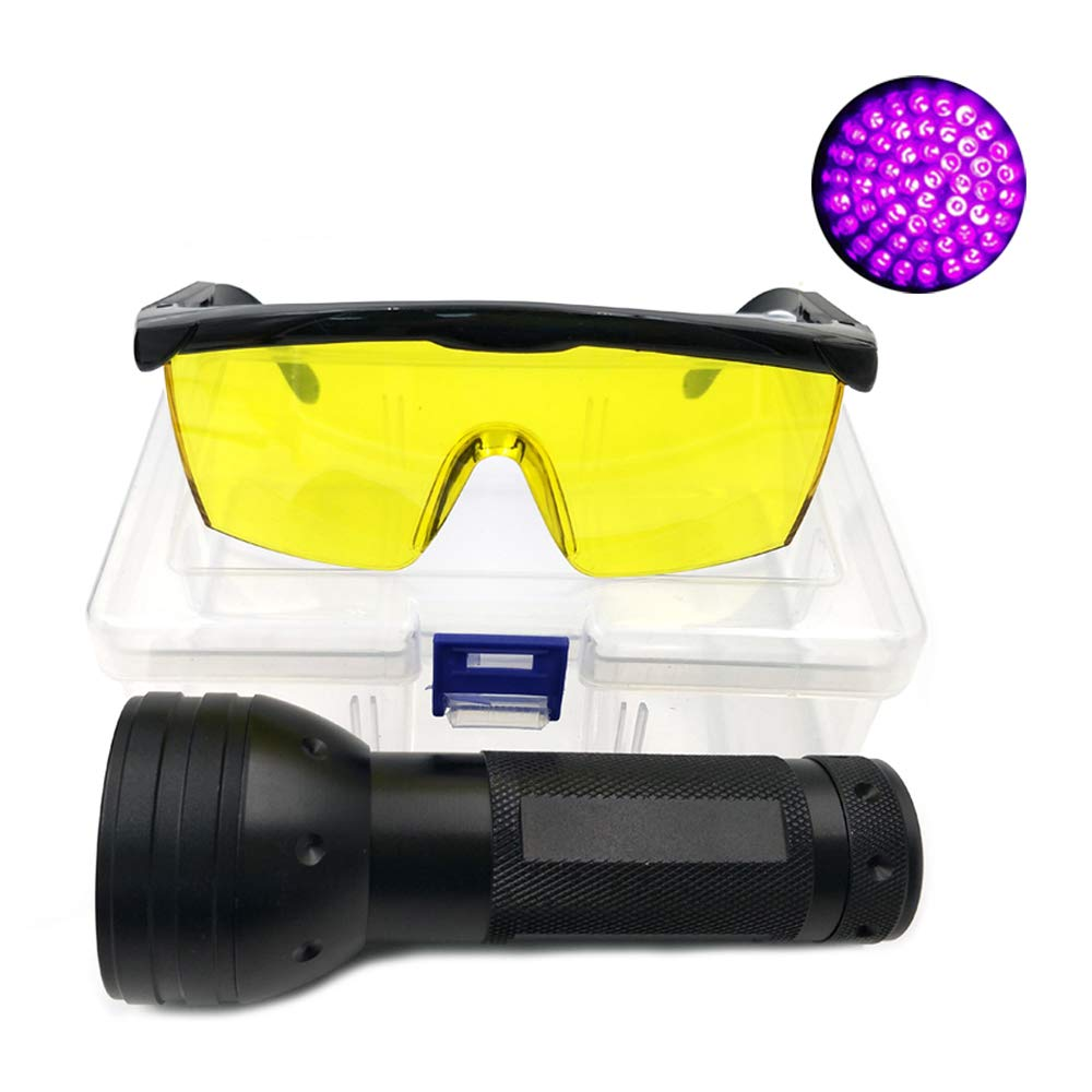 Nikauto UV Flashlight Black Light 51 LED Flashlight and UV Protective Glasses Goggles Detector Tool for Detecting pet Cat Dog Urine Repairing car Checking Money by Nikauto
