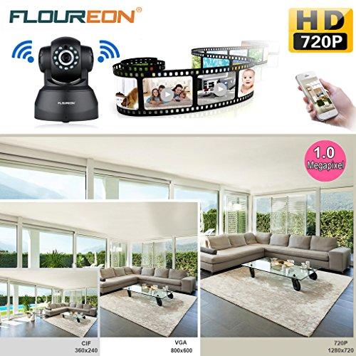 FLOUREON 720P Wireless IP Camera, ONVIF Pan/Tilt Indoor CCTV