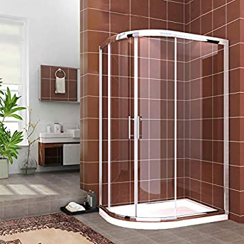 ELEGANT - Mampara de ducha (1000 x 900 mm, cuadrante izquierdo, 6 mm, puerta corredera de cristal fácil de limpiar, bandeja de piedra, trampa para residuos: Amazon.es: Bricolaje y herramientas