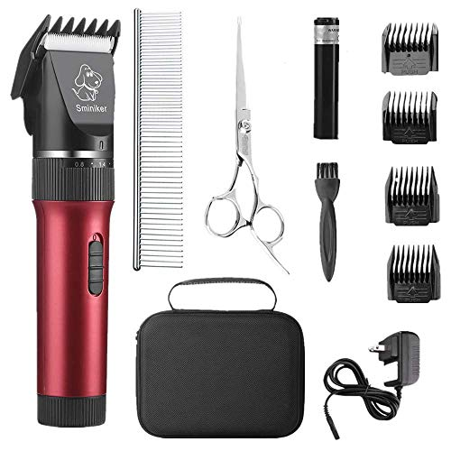 (Sminiker Low Noise Cat and Dog Clippers Rechargeable Cordless Pet Clippers Grooming Kit with Storage Bag 5 Speed Professional Animal Clippers Pet Grooming Kit)